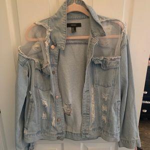 Distressed Denim Jacket with Mesh Details